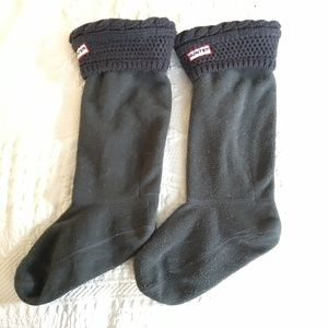 HUNTER BOOTS fleece welly socks grey gray MM 5-7